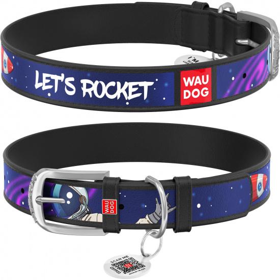 Кожаный ошейник для собак Waudog Design с рисунком Ракета, металлическая пряжка, черный