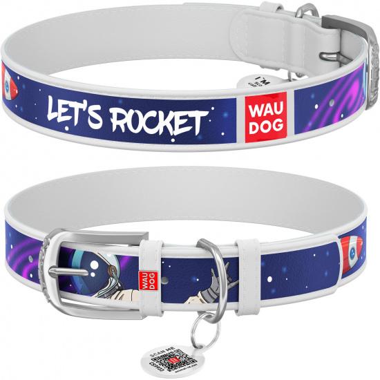 Кожаный ошейник для собак Waudog Design с рисунком Ракета, металлическая пряжка, белый