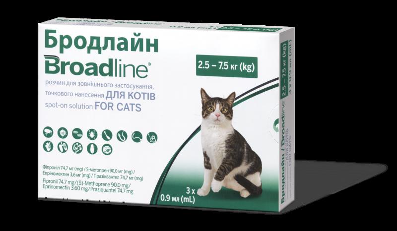 Broadline Капли на холку для кошек весом от 2,5 до 7,5 кг