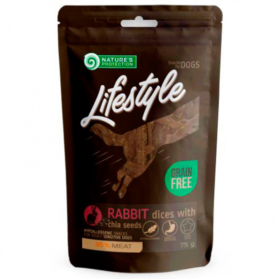 Nature's Protection Lifestyle snack for dogs soft rabbit dices with chia seeds
