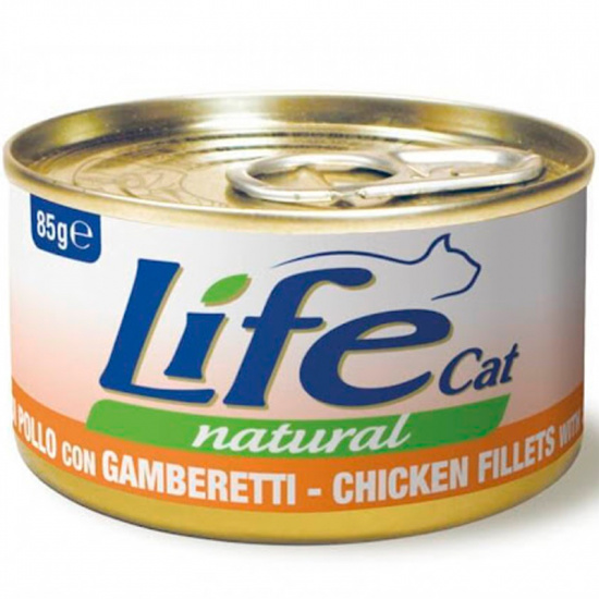 Life Cat Natural Chicken Fillets with Shrimps