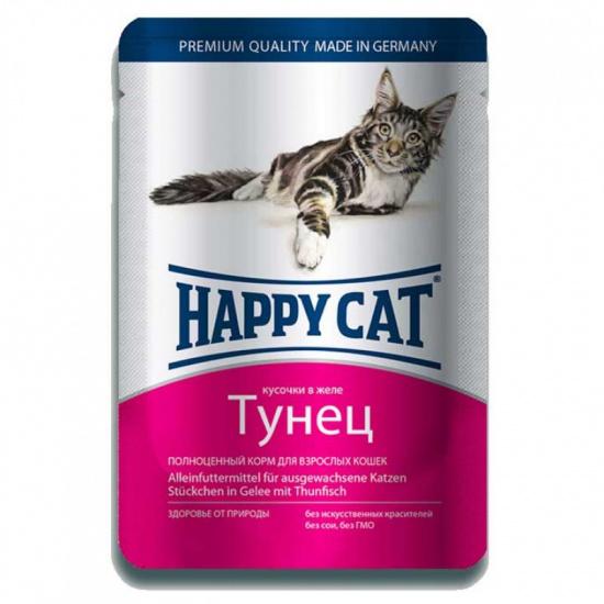 Happy Cat с тунцом, кусочки в желе