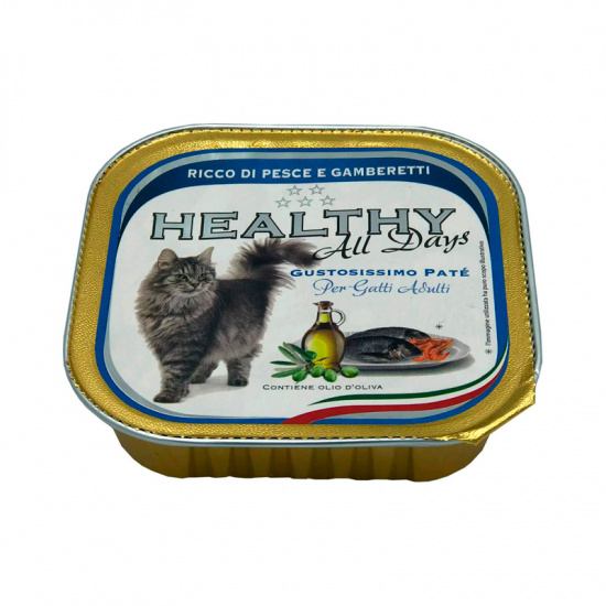 Healthy AllDays Cat Pate' Rich in Fish with Shrimps