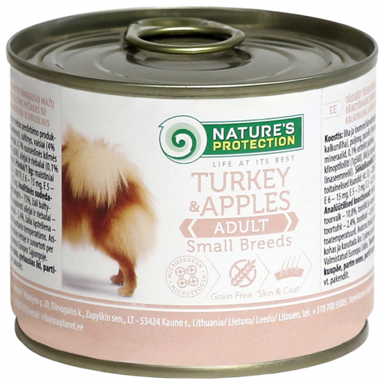 Nature's Protection Dog Adult Small Breed Turkey & Apples