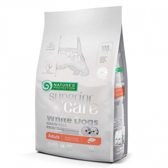 Natures Protection Superior Care White dogs Grain Free Salmon Adult Small and Mini Breeds