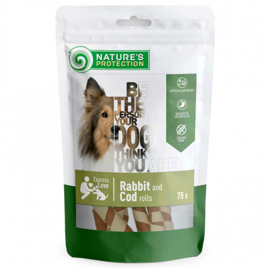 Nature's Protection snack for dogs rabbit and cod rolls