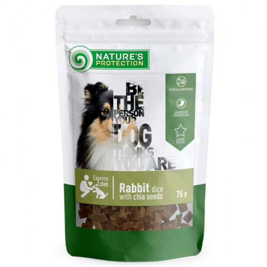 Nature's Protection snack for dogs rabbit dices with chia seeds